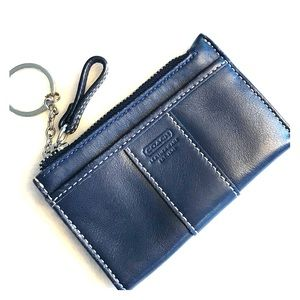 Coach navy leather coin purse with card slot